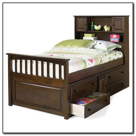 twin bed with drawers and bookcase headboard beds home
