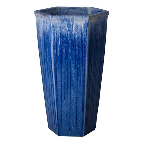 blue planter blue violet ceramic hex planter