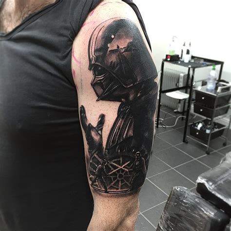 darth vader fighting luke skywalker tattoo tattoo geek