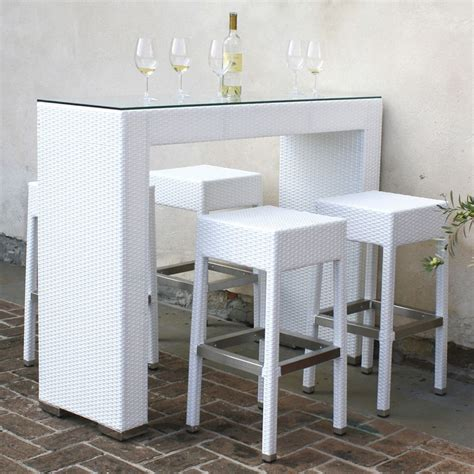 tavolo con sgabelli ar bt set da giardino in alluminio e simil rattan con