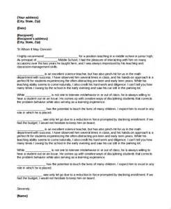 Recommendation Letter To From Principal Sle Letter Of Recommendation For 8 Exles
