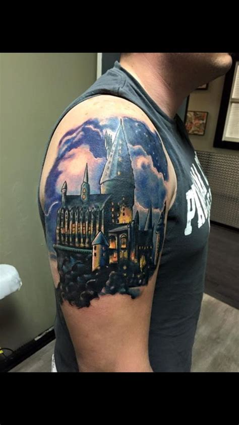 hogwarts castle tattoo beginning of my harry potter sleeve hogwarts castle