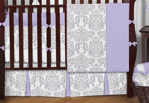 Lavender And Gray Crib Bedding by Boutique Designer Lavender Purple Grey White Damask Baby Crib Bedding Set