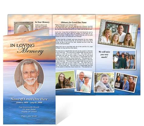 Memorial Brochure Template by Funeral Memorial Phlet In Trifold Brochure Layout And