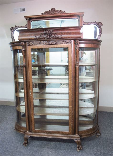 glass mirrored china cabinet oak curved glass 3 mirror griffin china cabinet