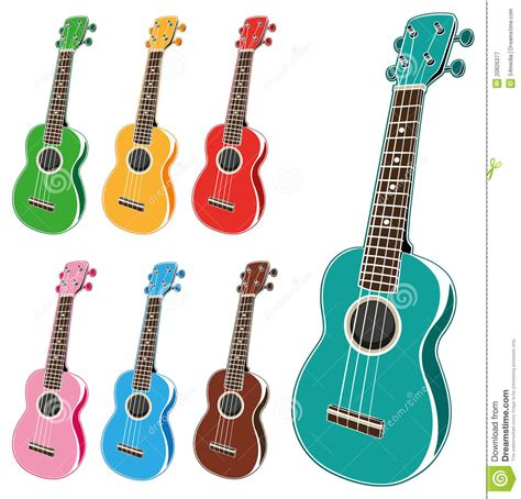 colorful ukulele colorful ukulele set royalty free stock photography