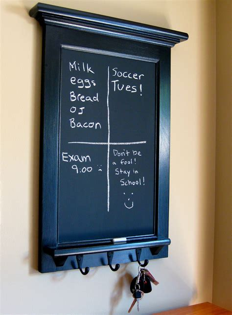 Chalkboard With Hooks For Kitchen by Chalkboard Organizer With Shelf Wood Framed Furniture Key