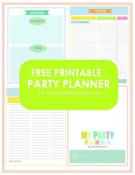 free printable event planner free printable your party planner