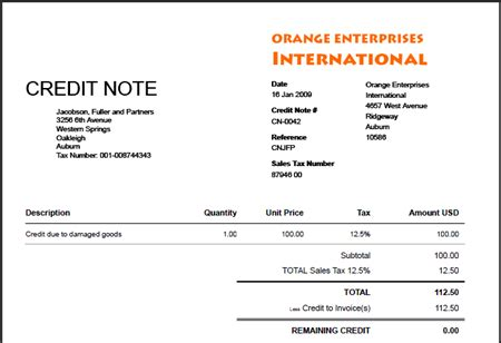 Credit Note Template For Excel Blank Credit Note Blankinvoice Org