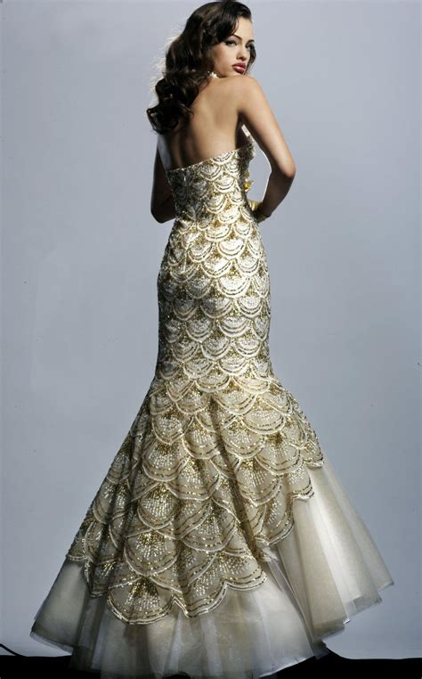 White And Gold Mermaid Wedding Dresses   Dresses Trend