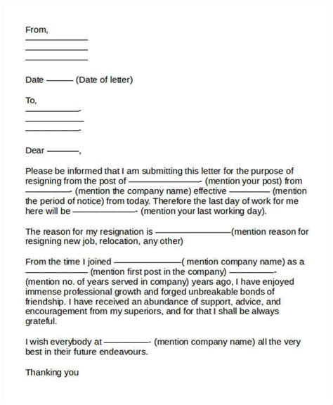 Resignation Letter Format In It Companies by 31 Formal Resignation Letters