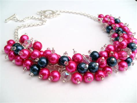 pink and navy blue beaded necklace pink bridesmaid