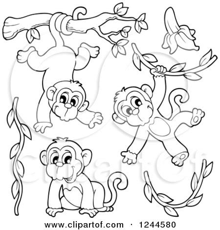 clipart of black and white playful monkeys and vines