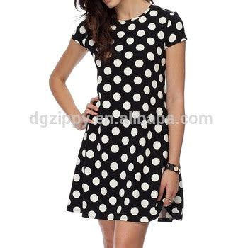 Black Dot Yarn Casual Top S040 polka dot neckline swing dress black polka dot dress black dress white dots buy