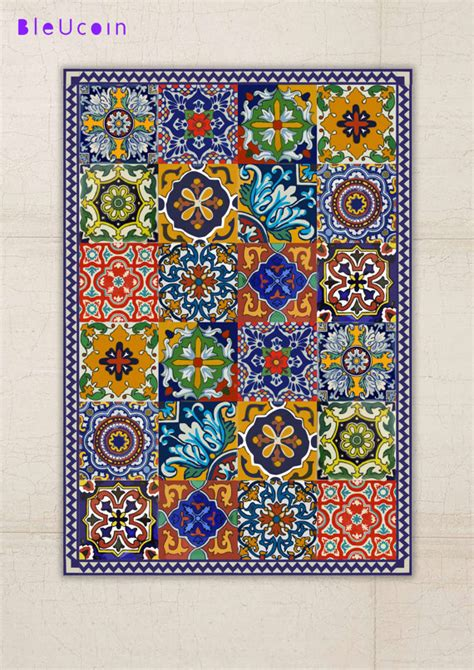 Mexican Style Area Rugs by Floor Vinyl Rug Mexican Talavera Style