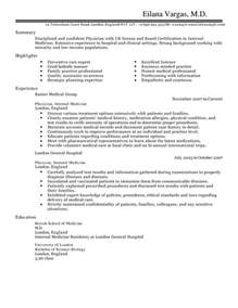 Doctor Resume Templates by Doctor Cv Exle For Healthcare Livecareer