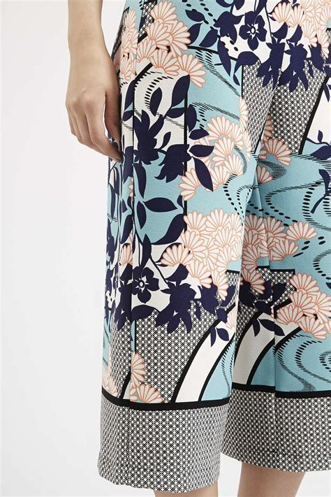 pattern mixing clothes japanese floral border print culottes shorts clothing