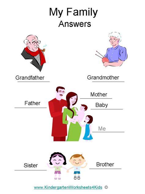 kindergarten activities my family family worksheets