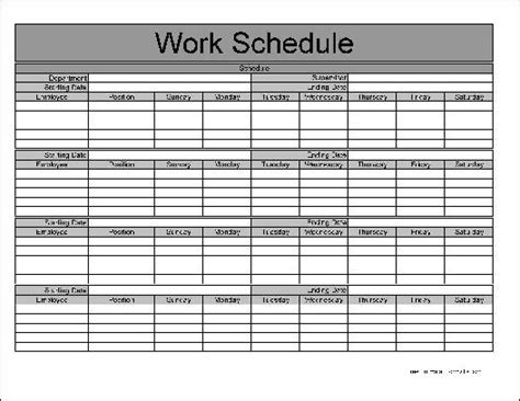 Free Basic Monthly Work Schedule From Formville Free Monthly Work Schedule Template