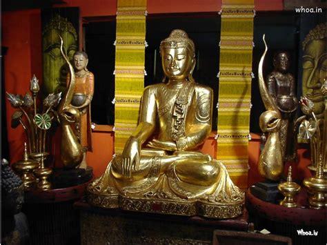 lord buddha temple golden statue hd wallpaper