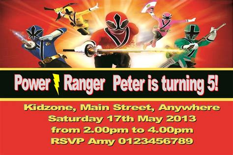 printable birthday invitations power rangers personalised power rangers invitations
