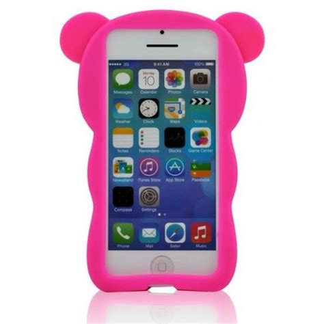 wholesale iphone 5 5s 3d bear case hot pink