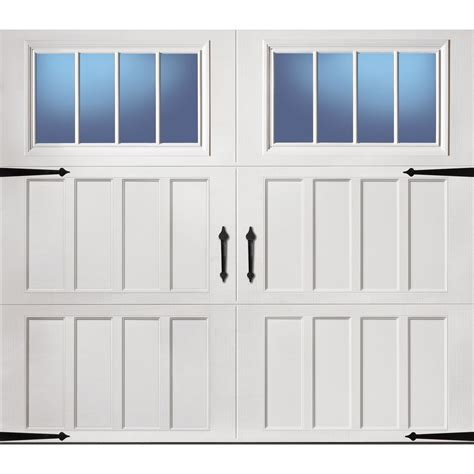 insulated garage doors with windows shop pella carriage house series 96 in x 84 in insulated
