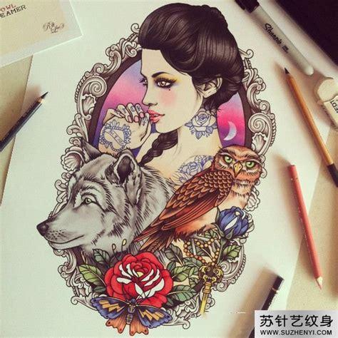 imagenes tumblr zarpadas 美女与狼玫瑰猫头鹰创意纹身手稿