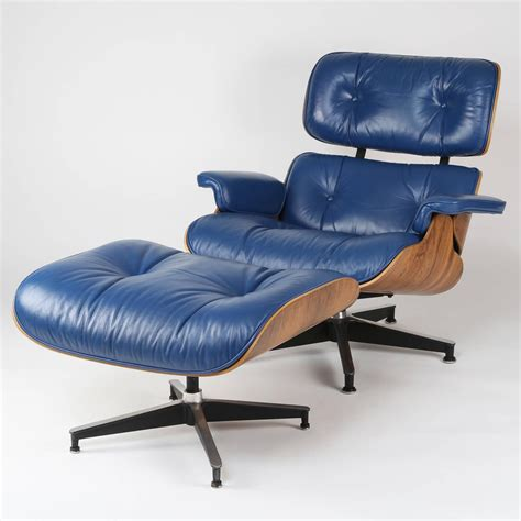 Blue Leather Chair And Ottoman Vintage 670 671 Eames Rosewood Lounge Chair And Ottoman In Blue Leather At 1stdibs