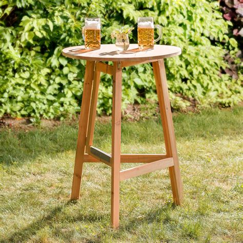 Wood Bistro Table Wooden Folding High Table Bistro Hinge Bar Pub Coffee Garden 216 78cm Ebay