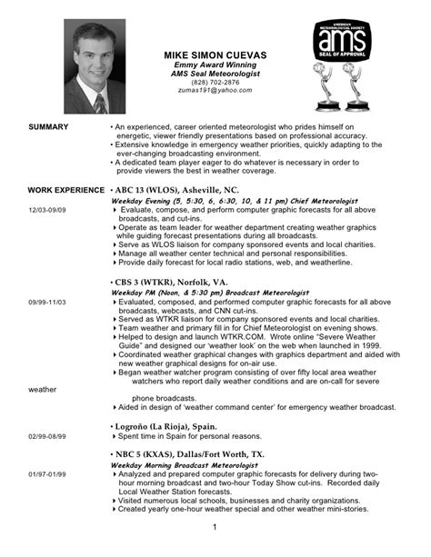 Meteorologist Resume by Mike Simon Cuevas Resume