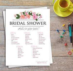 purse bridal shower bridal shower whats in your purse printable instant