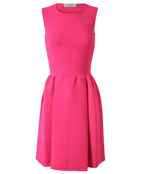 Valentino Ribbed Stretch Knit Dress In Pink Lyst