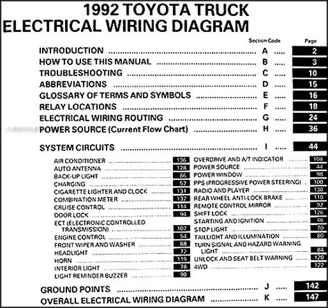 1992 toyota wiring diagram 1992 toyota truck wiring diagram manual original