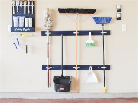 Garage Storage Brooms How To Make A Cleaning Tool Holder Hgtv