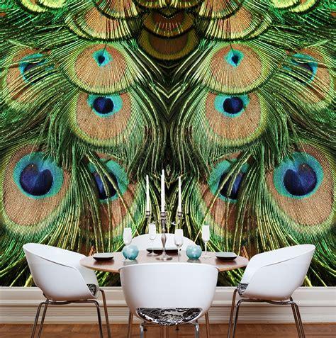Contemporary Wall Murals Interior jade peacock mural wallpaper
