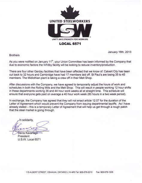 Employment Letter Reduction Of Hours Untitled Document Usw6571 Ca