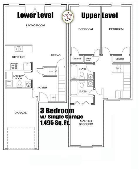 3 Bedroom Townhouse Floor Plans | 3 beroom townhouse floorplans atjackson crossing