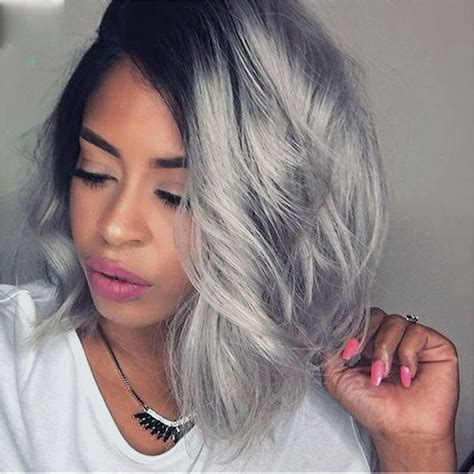 grey hair with with in the front fashion best bob lace front ombre grey human hair wigs