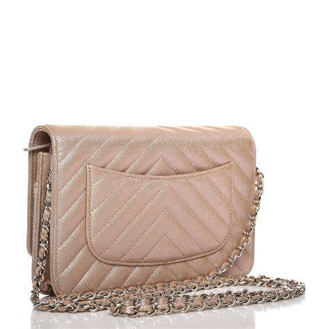 chanel metallic caviar chevron quilted wallet on chain woc