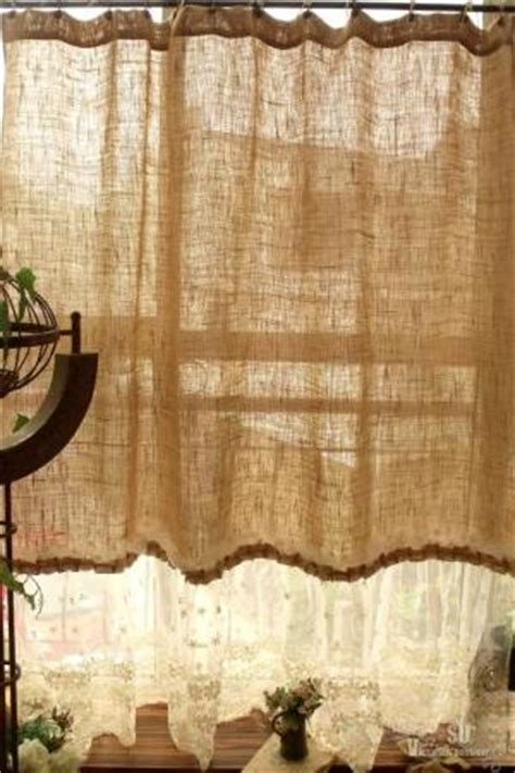 french country shower curtains 72 quot shabby rustic chic burlap shower curtain lace ruffles