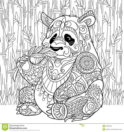 anti stress coloring book doodle and color your stress away zentangle stylized panda stock vector image 68288240