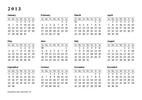 2013 printable calendars templates pdf calendar template