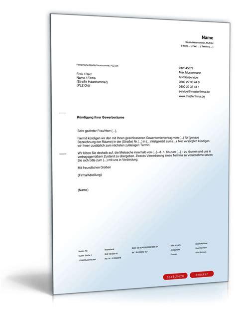 Muster Mietvertrag Gewerbe fristgem 228 223 e k 252 ndigung gewerbemietvertrag durch vermieter