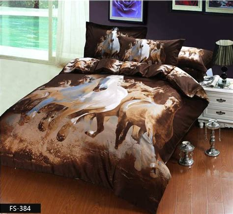 animal in bed 3d white horse bedding set queen size 4pcs luxury oil painting comforter duvet cover