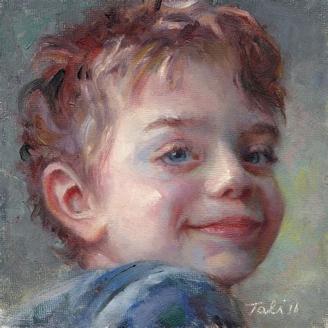 painting boy sammy in blue portrait of a boy painting by talya johnson