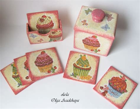 Decoupage Coasters - kitchen set cup coasters with box for them and scoop
