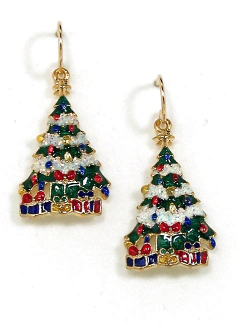 hypoallergenic christmas tree tree earrings snowy tree earrings earrings