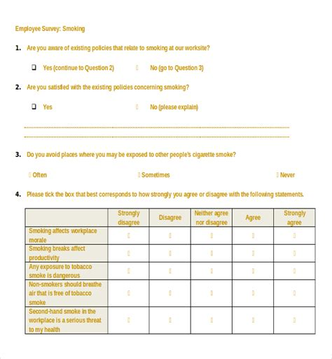 18 employee survey templates free sle exle