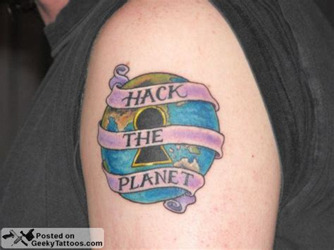 hacker tattoo hack the planet geeky tattoos